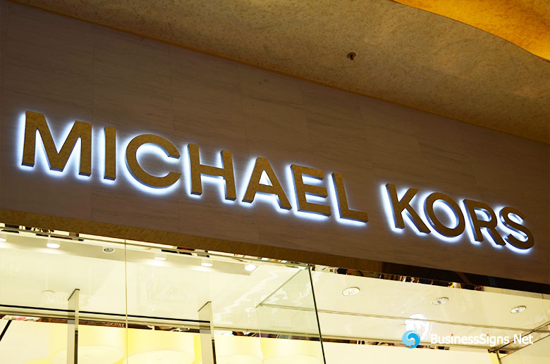 3D LED Backlit Signs With Painted Stainless Steel Letter Shell For Michael Kors