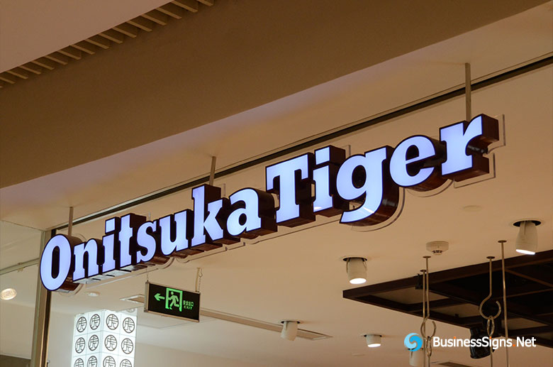 3D LED Front-lit Signs With Painted Stainless Steel Letter Shell For Onitsuka Tiger