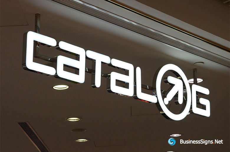 3D LED Front-lit Signs With Mirror Polished Stainless Steel Letter Shell & 10mm Thickness Acrylic Front-panel For Catalog