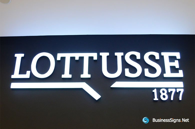 3D LED Front-lit Signs With Painted Stainless Steel Letter Shell & 20mm Thickness Acrylic Front-panel For Lottusse