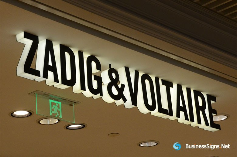 3D LED Side-lit Signs With Black Acrylic Front-panel For Zadig & Voltaire