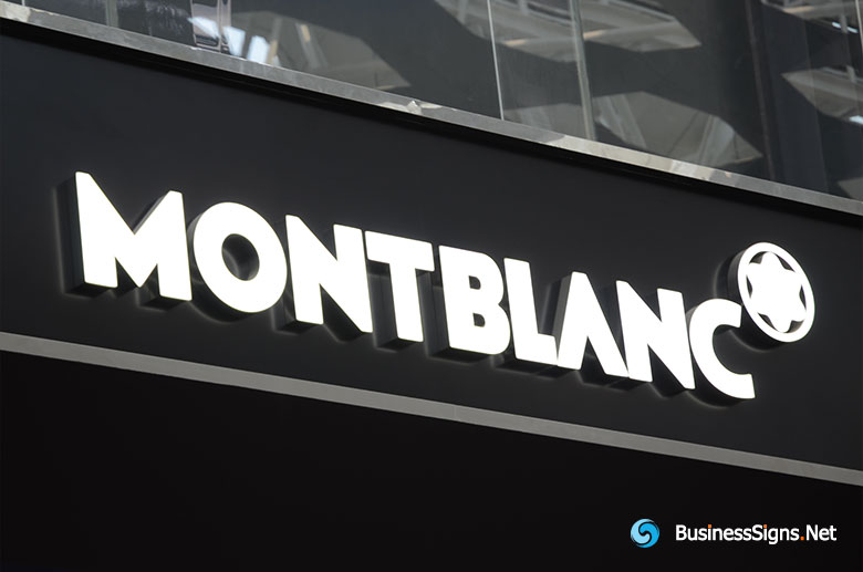 3D LED Front-lit Signs With Brushed Stainless Steel Letter Shell And 20mm Thickness Acrylic Front-panel For Montblanc