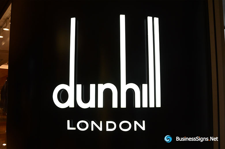 3D LED Front-lit Signs With Painted Stainless Steel Letter Shell & 20mm Thickness Acrylic Front-panel For Dunhill