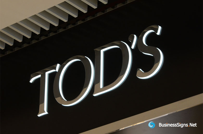 3D LED Side-lit Signs With Mirror Polished Stainless Steel Front-panel For Tod's