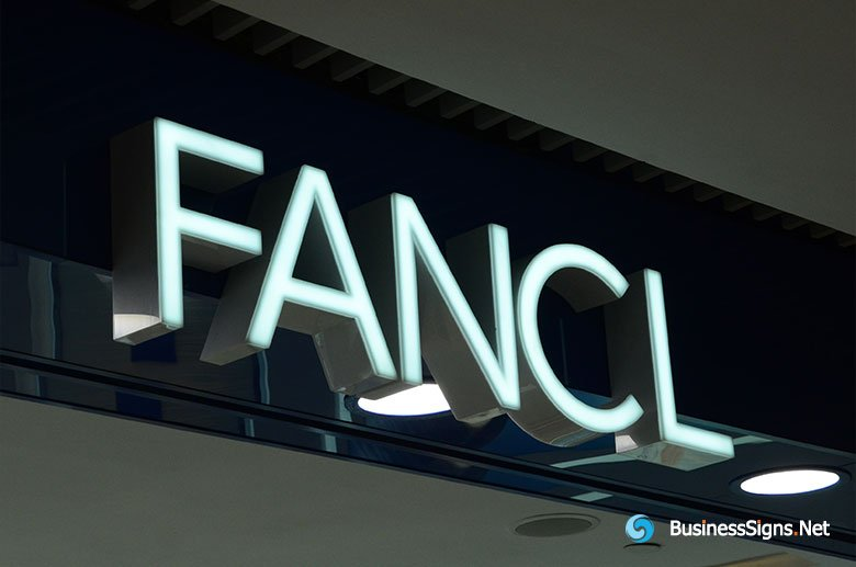 3D LED Front-lit Signs With Brushed Stainless Steel For Fancl