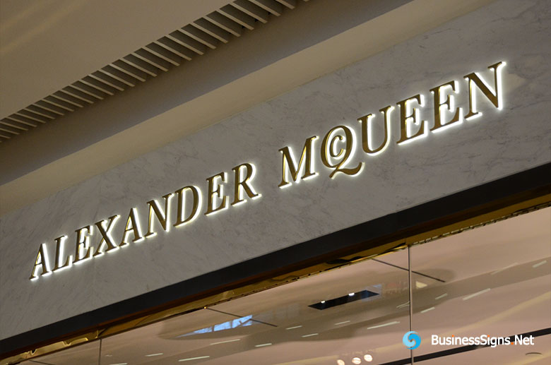 3D LED Backlit Signs With Mirror Polished Gold Plated Letter Shell & 20mm Thickness Acrylic Back Panel For Alexander McQueen