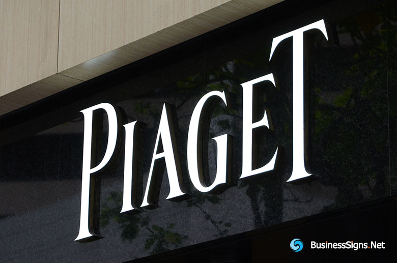 3D LED Front-lit Signs With Brushed Stainless Steel Letter Shell For Piaget