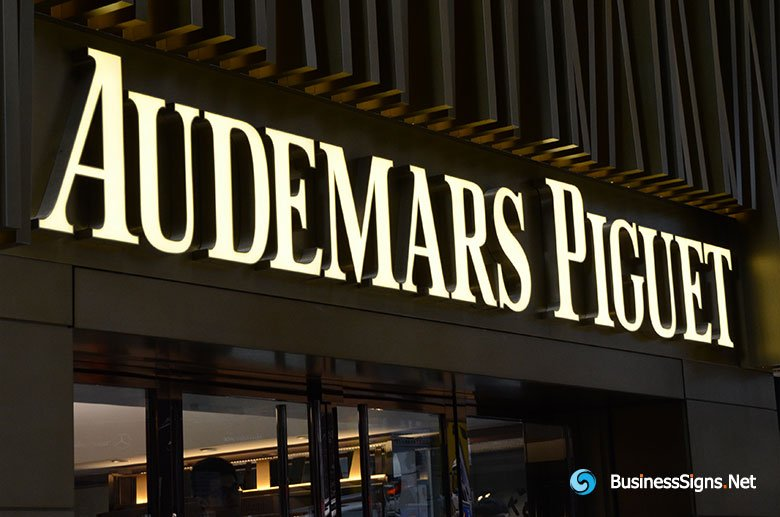 3D LED Front-lit Signs With Brushed Titanium Plated Letter Shell For Audemars Piguet