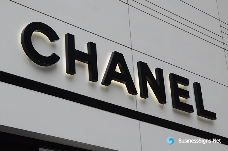 3D LED Backlit Signs With Painted Stainless Steel Letter Shell For Chanel