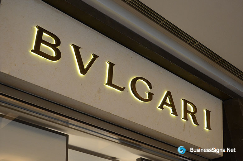 3D LED Back-lit Signs With Brushed Copper Plated Letter Shell And 20mm Thickness Acrylic Back Panel For Bulgari