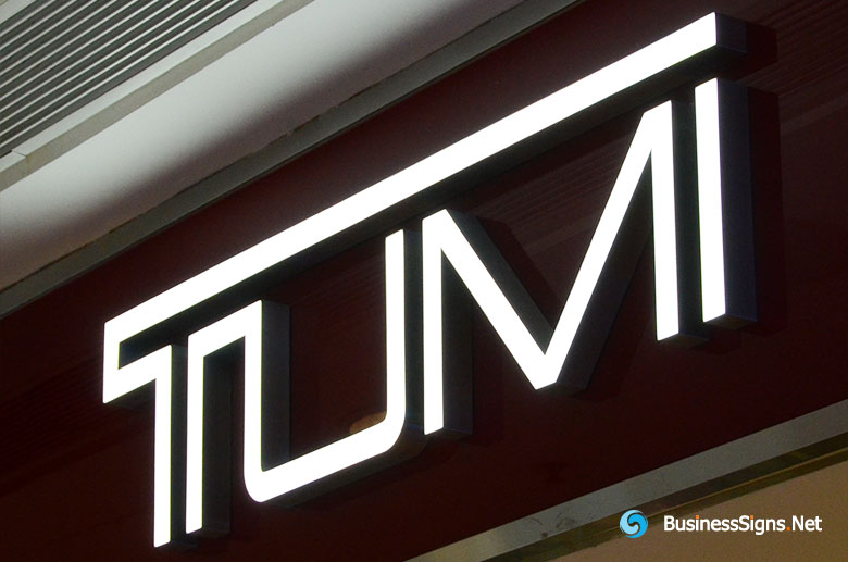 3D LED Front-lit Signs With Brushed Stainless Steel Letter Shell For Tumi