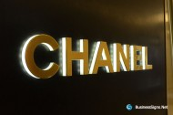 3D LED Side-lit Signs With Mirror Polished Gold Plated Front-panel For Chanel