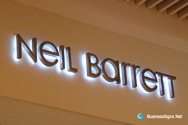 3D LED Backlit Signs With Painted Stainless Steel Letter Shell & 20mm Thickness Acrylic Back Panel For Neil Barrett