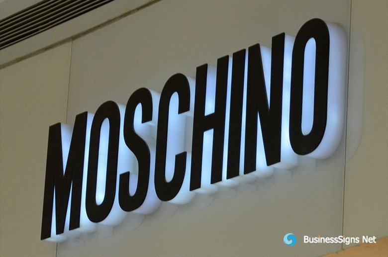 3D LED Side-lit Signs With Black Acrylic Front-panel For Moschino