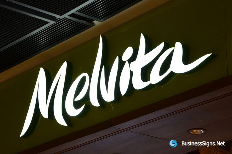 3D LED Front-lit Signs With Painted Stainless Steel Letter Shell For Melvita