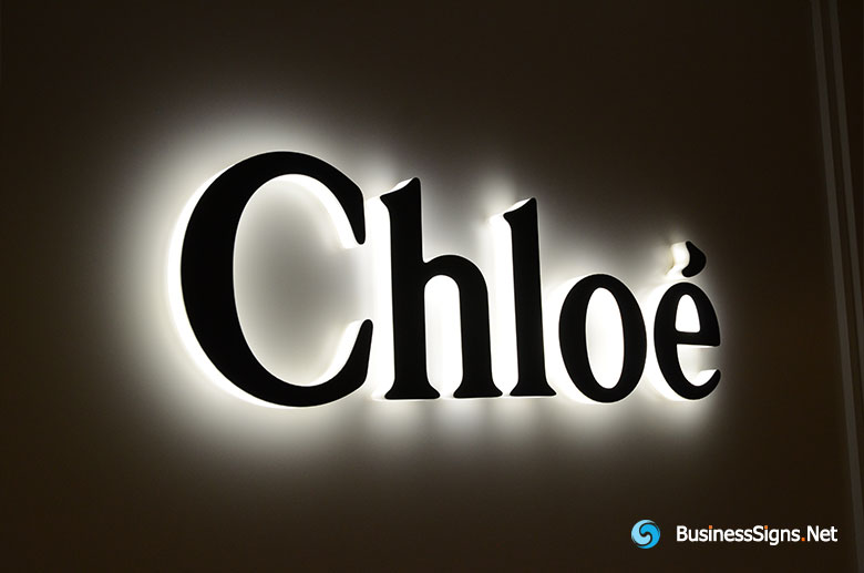 3D LED Side-lit Signs With Black Stainless Steel Front-panel For Chloé