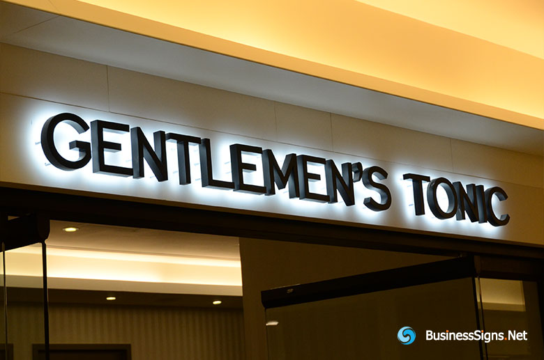 3D LED Backlit Signs With Painted Stainless Steel Letter Shell For Gentlemen's Tonic