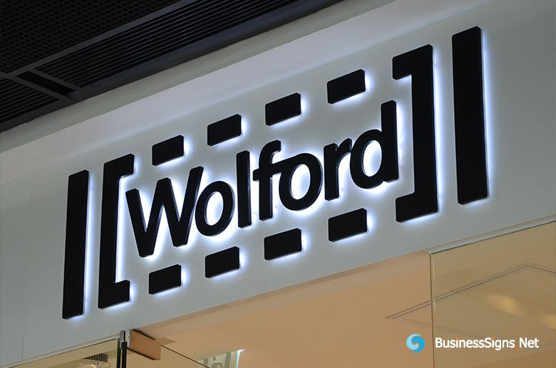 3D LED Backlit Signs With Painted Stainless Steel Letter Shell For Wolford