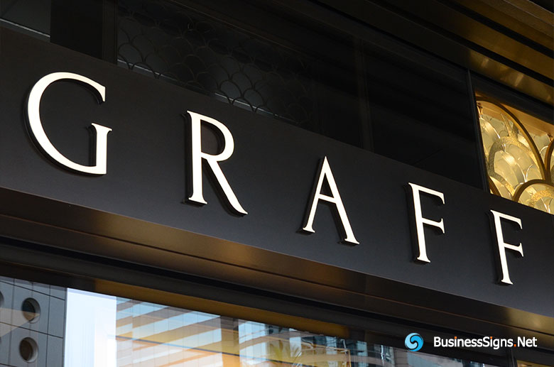 3D LED Front-lit Signs With Brushed Gold Plated Letter Shell For Graff Diamonds