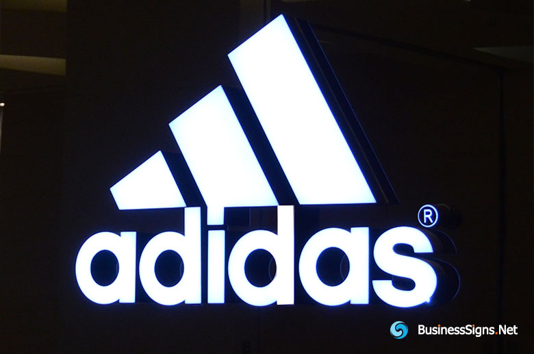 3D LED Front-lit Signs With Painted Stainless Steel Letter Shell For Adidas