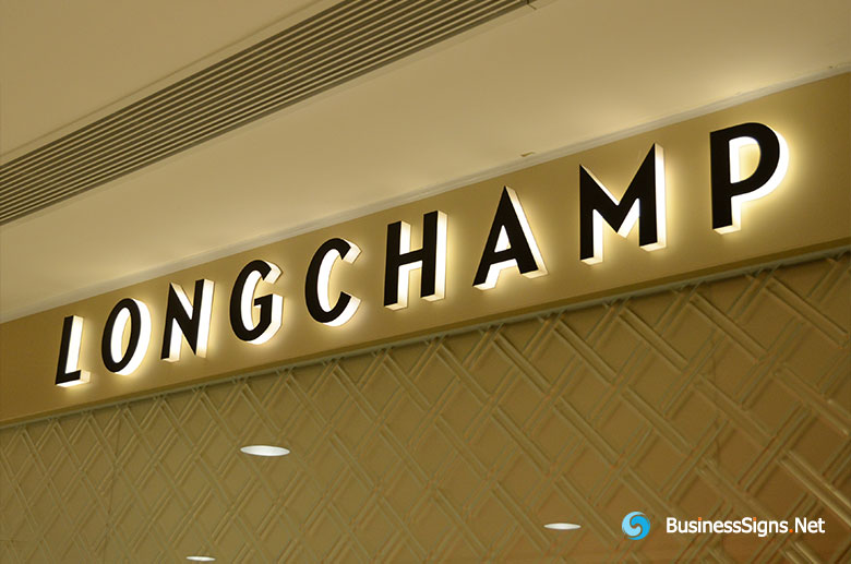 3D LED Side-lit Signs With Black Acrylic Front-panel For Longchamp