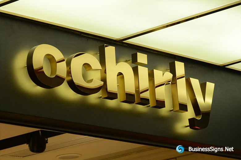 3D LED Backlit Signs With Mirror Polished Gold Plated Letter Shell For Ochirly
