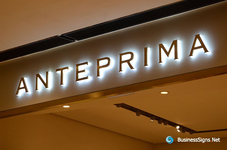 3D LED Side-lit Signs With Mirror Polished Gold Plated Front-panel For Anteprima