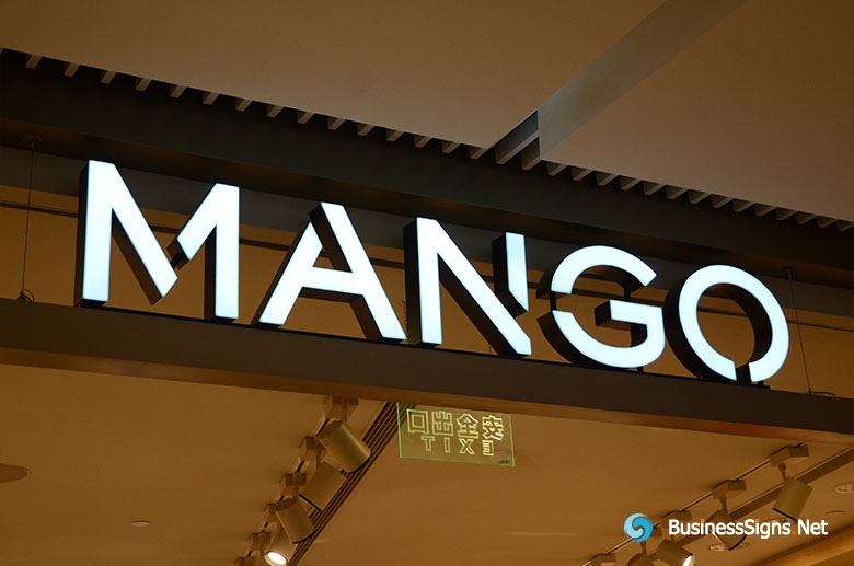 3D LED Front-lit Signs With Mirror Polished Letter Shell For Mango