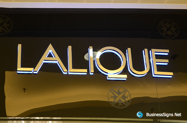3D LED Backlit Signs With Mirror Polished Letter Shell & 20mm Thickness Acrylic Back Panel For Lalique