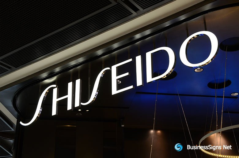 3D LED Front-lit Signs With Mirror Polished Stainless Steel Letter Shell For Shiseido