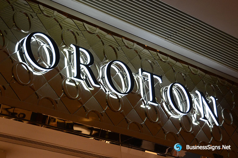 3D LED Side-lit Signs With Black Acrylic Front-panel For Oroton
