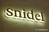 3D LED Side-lit Signs With Mirror Polished Gold Plated Front-panel For Snidel