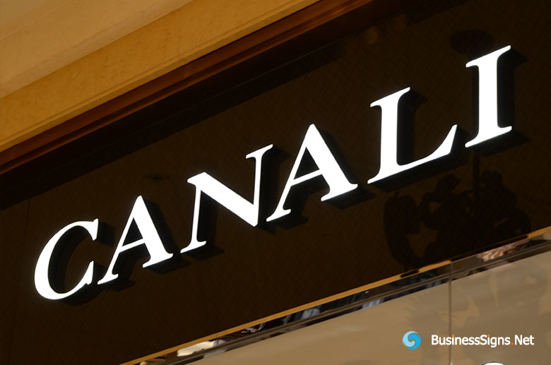 3D LED Front-lit Signs With Mirror Polished Stainless Steel Letter Shell For Canali