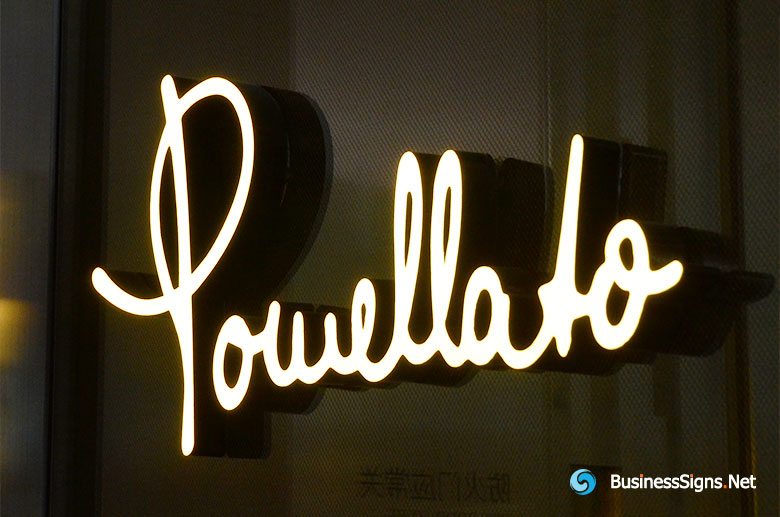 3D LED Front-lit Signs With Painted Stainless Steel Letter Shell For Pomellato