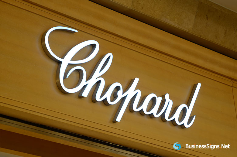 3D LED Front-lit Signs With Brushed Stainless Steel For Chopard