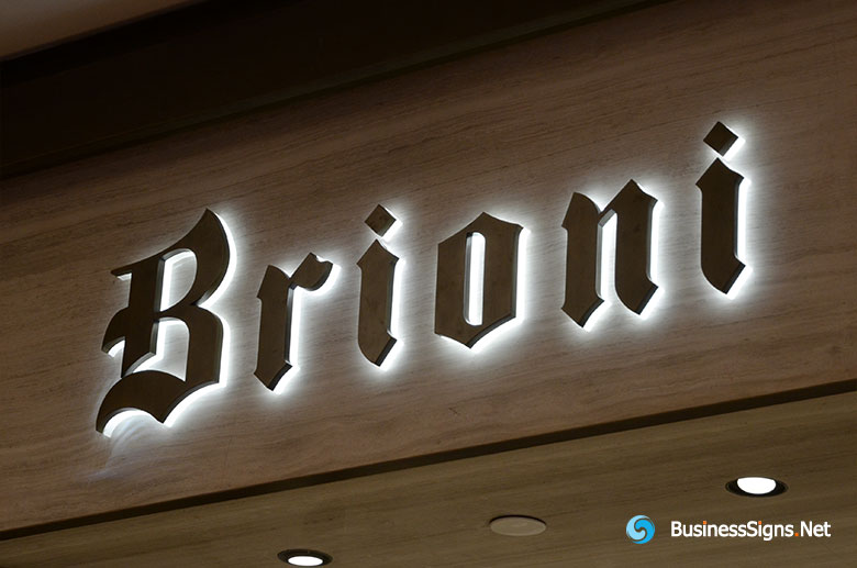 3D LED Back-lit Signs With Mirror Polished Titanium Plated Letter Shell & 20mm Thickness Acrylic Back Panel For Brioni