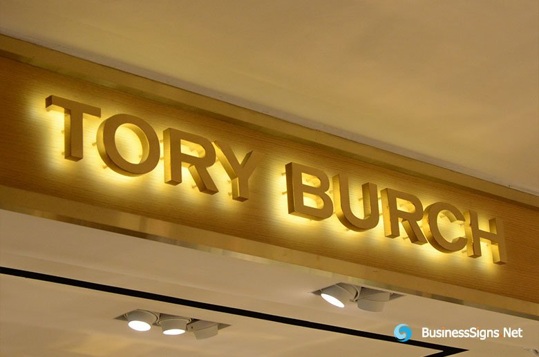 3D LED Backlit Signs With Mirror Polished Gold Plated Letter Shell For Tory Burch