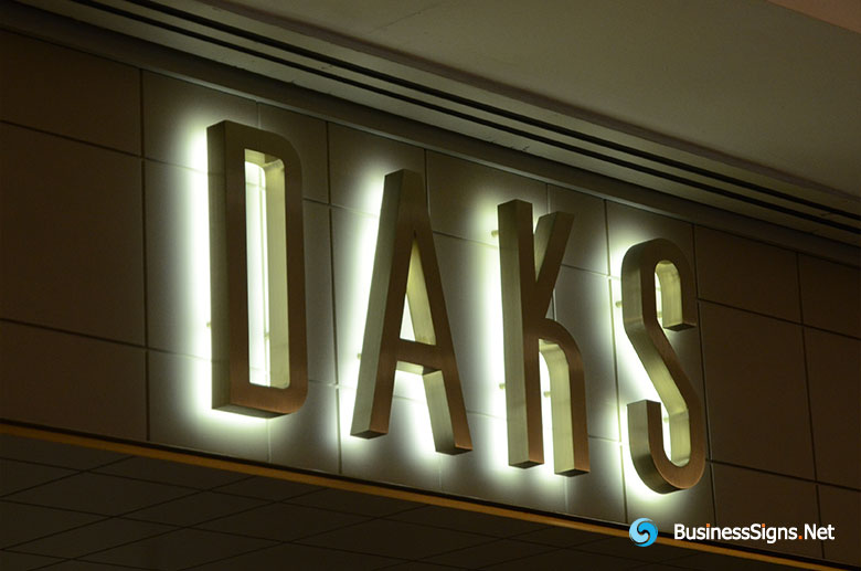 3D LED Backlit Signs With Brushed Stainless Steel Letter Shell For DAKS