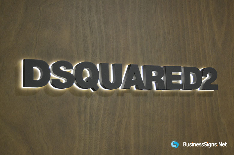 3D LED Backlit Signs With Painted Stainless Steel Letter Shell & 20mm Thickness Acrylic Back Panel For DSQUARED2