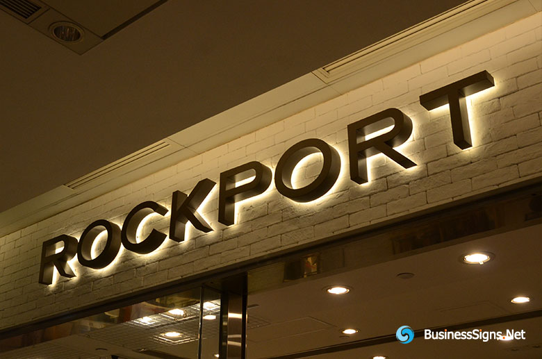 3D LED Backlit Signs With Painted Stainless Steel Letter Shell For Rockport