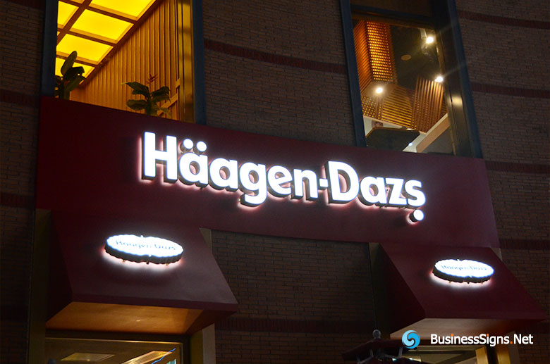 3D LED Double-sided-lit Signs With Brushed Stainless Steel Letter Shell For Häagen-Dazs