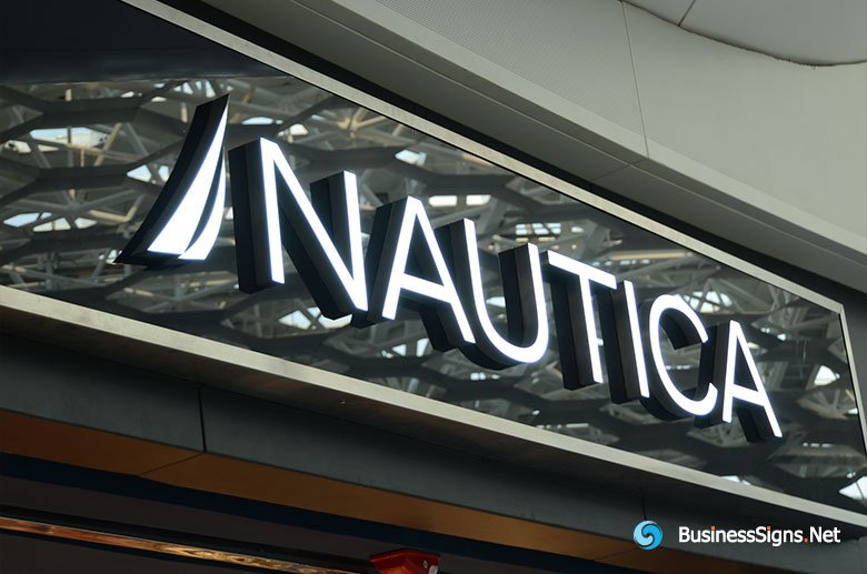 3D LED Front-lit Signs With Painted Stainless Steel Letter Shell For Nautica