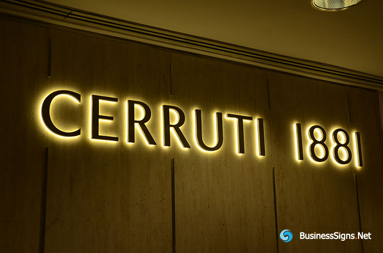 3D LED Backlit Signs With Painted Stainless Steel Letter Shell & 20mm Thickness Acrylic Back Panel For Cerruti 1881