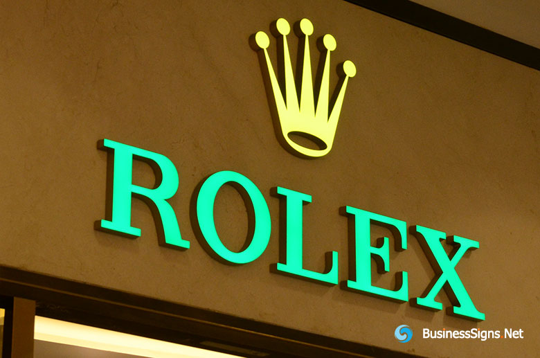 3D LED Front-lit Signs With Brushed Copper Plated Letter Shell For Rolex