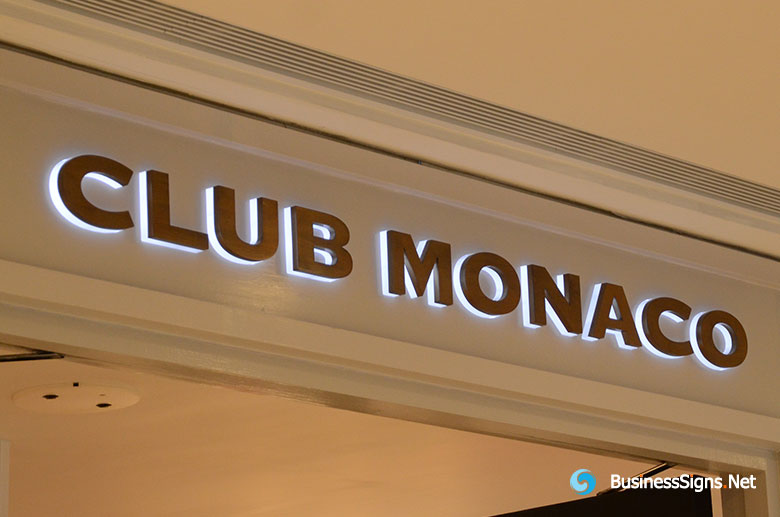3D LED Backlit Signs With Brushed Copper Plated Letter Shell & 20mm Thickness Acrylic Back Panel For Club Monaco