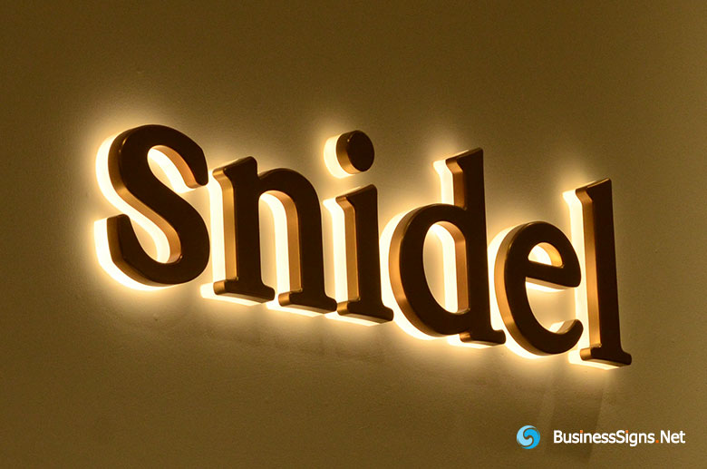 3D LED Backlit Signs With Mirror Polished Gold Plated Letter Shell & 20mm Thickness Acrylic Back Panel For Snidel