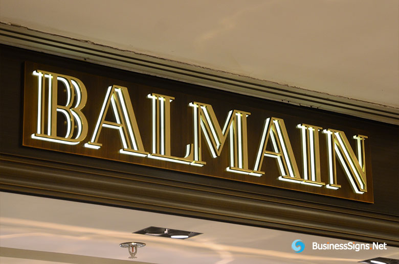 3D LED Backlit Signs With Mirror Polished Gold Plated Letter Shell & 20mm Thickness Acrylic Back Panel For Balmain
