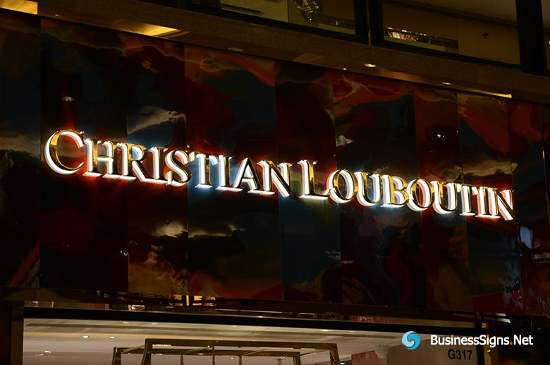 3D LED Backlit Signs With Mirror Polished Gold Plated Letter Shell & 20mm Thickness Acrylic Back Panel For Christian Louboutin