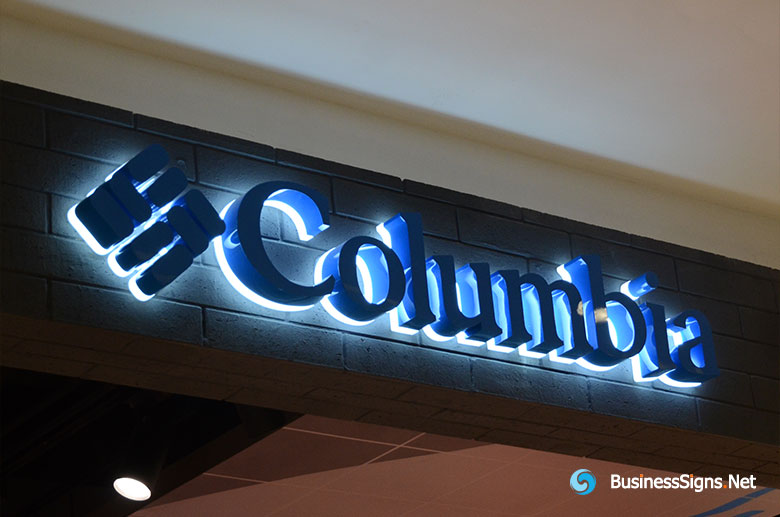 3D LED Backlit Signs With Painted Stainless Steel Letter Shell And Visible Acrylic Back Panel For Columbia