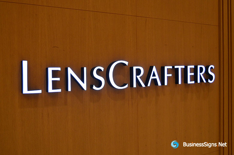 3D LED Front-lit Signs With Painted Engraved Acrylic Letter Shell For LensCrafters